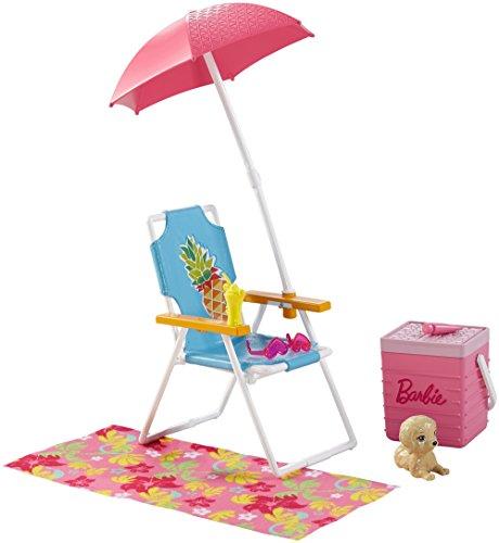 Barbie Mattel DVX49 - Möbel Außenbereich: Strandausflug Set, Ankleidepuppen-Zubehör (Hunde-kleidung Und Zubehör)
