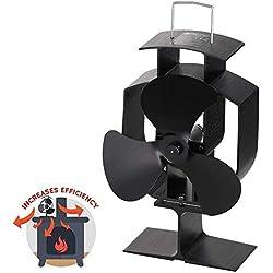 Ventilateur de poêle à bois YUEMI à 3 lames, ventilateur Eco à combustion ultra-silencieuse pour cheminée pour une distribution de chaleur efficace