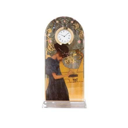 Goebel Die Musik, Gustav Klimt, Tischuhr, Tisch Uhr, Kaminuhr, Dekoration, Glas, 66523221