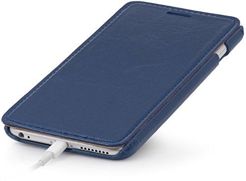 StilGut® Book Type Case, Hülle aus Leder für Apple iPhone 6 (4.7'') iPhone 6 (4.7'') schwarz Nachtblau