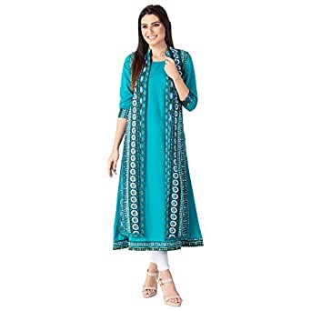 M&D Women's 3/4 Sleeve Double Layer A-Line Kurti (Seagreen, Small)