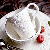 HMKZXQ Retro Rose Tazas y Tazas de cerámica Blanca sólida con empuñadura Vajilla de Porcelana Taza de café con Leche y té
