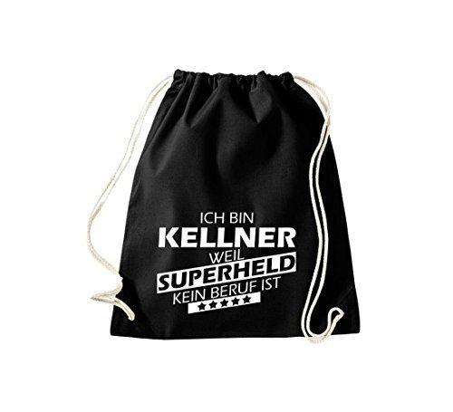shirtstown BORSA PALESTRA Ich bin Kellner, WEIL supereroe NESSUN occupazione è - grigio, 37 cm x 46 cm Nero