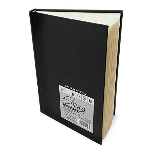 Daler Rowney - Ebony Artist's Hardback Sketch Book - 150gsm - 62 Pages - A5 Portrait