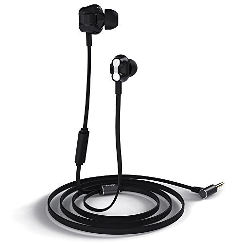 r Kopfhörer mit In-Line Fernbedienung - Freisprechen und Bedienung via Mikrofon - Dual Driver - Universell Kompatibel - Schwarz ()
