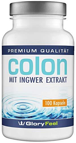Colon Cleanse - 100 vegane Kapseln - Ballaststoff-Komplex mit Ingwer Extrakt und Flohsamenschalen - Laborgeprüft und ohne Zusätze hergestellt in Deutschland