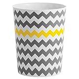 mDesign Cubo de basura en plástico – Perfecto como papelera de oficina, en la cocina o en el baño – Ideal papelera de diseño moderna – Diseño en zigzag - Amarillo/gris