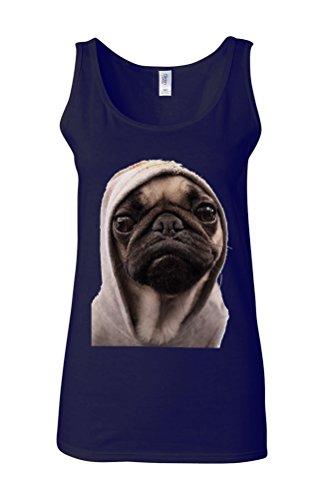 Pug Life Grumpy Gangster Dog Funny Novelty White Femme Women Tricot de Corps Tank Top Vest Bleu Foncé