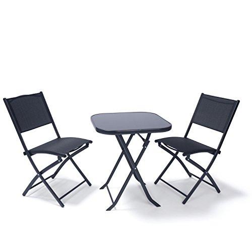 Ampel 24 Balkon Möbel Set Paris, Bistrotisch mit 2 Stühlen klappbar, Sitzgruppe 3-teilig schwarz,...