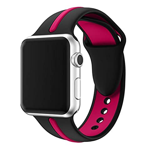 iHee Bracelet sport très confortable en silicone pour Apple Watch Series 1/2 42 mm M rose vif
