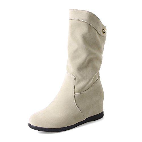 Hsxz Femmes Polaire Chaussures Automne Hiver Mode Bottes À Talons Bas Bottes Bout Rond Bottines / Bottillons Mid-calf Side-draped Bottes Pour Vêtements De Sport Noir