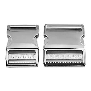 ALU MAX Klickverschluss aus leichtem Aluminium, verstellbar, Silber glänzend, 38 mm Gurtbreite, 1 Stück
