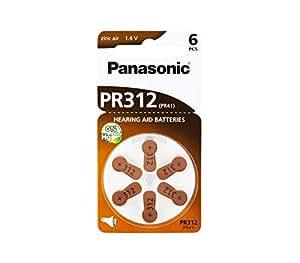 Panasonic Piles pour appareils auditifs PR312(10Blister Pack–60piles)