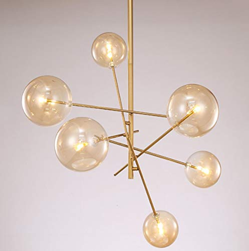 ☞ * Modern Metal Branch Kronleuchter Beleuchtung Messing gebürstet Moderne verstellbare Pendelleuchten Vintage Kreative Magische Bohnen Glaskugel Molekül Semi Flush Mount Deckenleuchte, Golden, Whitel - Messing Semi Flush