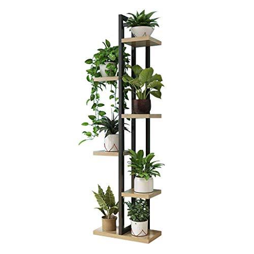 Blumenregale DD Stände, Multi-Layer-Metallwerkstand-Holz-Holzbrett, Topfpflanzer Unterstützt Eisen Boden Blumentopf Rack-Anzeige Perfekt (Farbe : 6-Tiers)