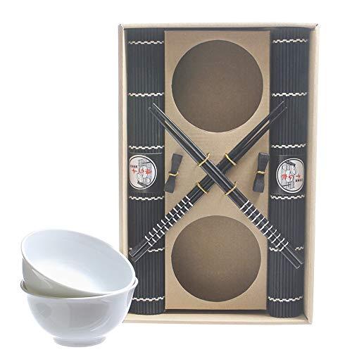 Set sushi cibo giapponese per 2 persone con bacchette in legno ciotole in ceramica tovagliette e porta bacchetta max casa (nero)