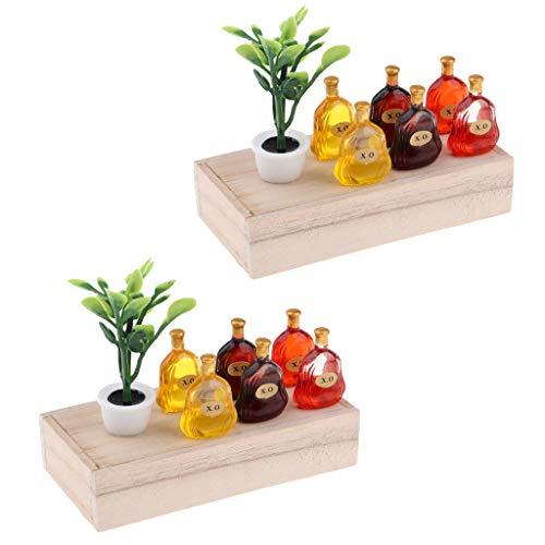 SM SunniMix 2 Sets 1/12 Puppenhaus Miniatur Holzkiste mit Bonsaia und X.o Weinflaschen Modell - Mehrfarbig Sm Blume
