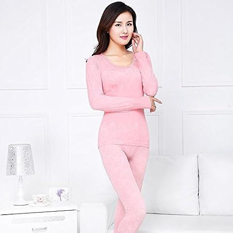 ZHANGYONG*Adam Cheng Yi Chau pantaloni, sottile, round-collare serrato corpo ragazze intimo termico, formando le donne Kit , Inverno , codice sono rosa