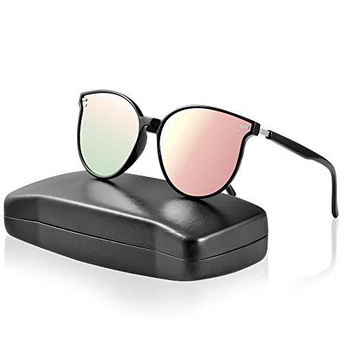 ipow Polarisierte Retro Vintage Katzenauge Sonnenbrille für Damen Herren verspiegelt 400 UV Sonnenschutz (Rosa/Pink)