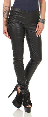 Damen Kunstlederhose Skinny (Röhre) Nr. 589, Grösse:38, Farbe:Schwarz