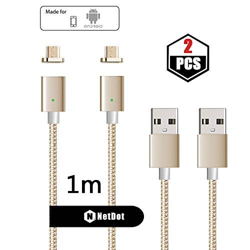 NetDot 2 Pack 3. Generation Nylon Geflochtene Micro USB 2.0 Magnetische Lade- und Datenübertragungskabel für Android-Gerät (1M Micro USB/2 Pack Gold)