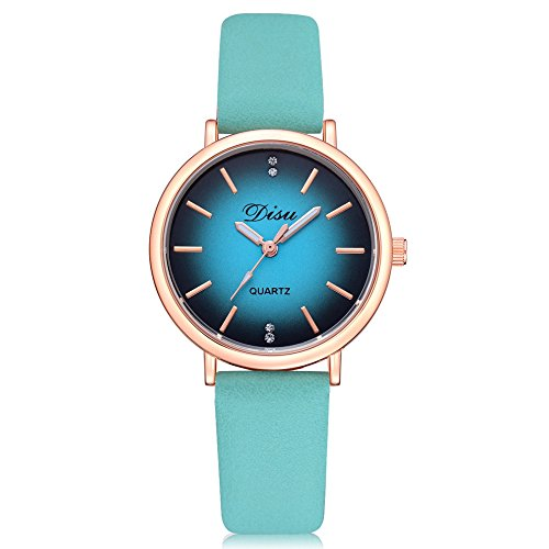 Wristwatches for Women,Fashion Retro Watch Leather Strap Premium & Elegant Bracelet Watch Gradient Round Dial Watches Paticess