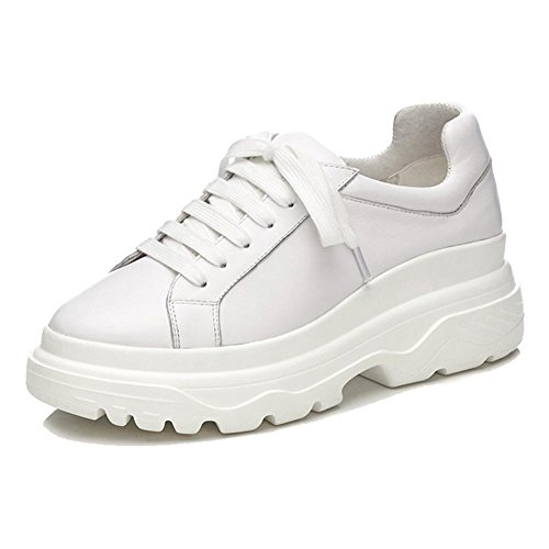 KJJDE Plateauschuhe Damen Creepers Schuhe WSXY-A0613 Derby Keilabsatz Klassische Vintage-Serie, White, 38