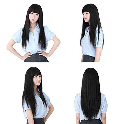 chunyang Lange gerade volle Perücken Cosplay Haar-Verlängerungen Haarteil (Volle Spitze Menschliches Haar Verlängerung)