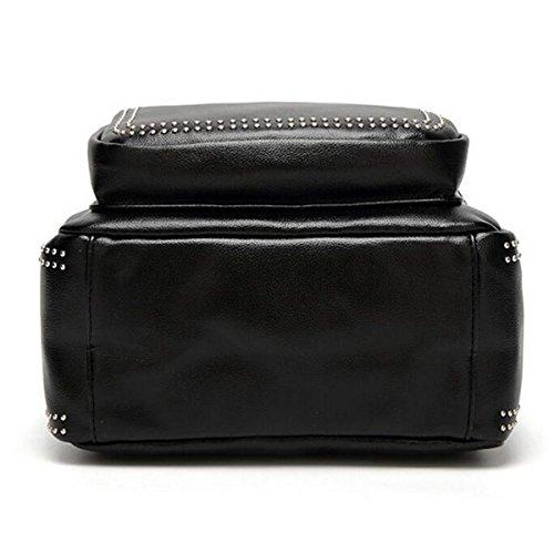 Nieten Weiblichen Rucksack Mode Tasche Student Rucksack,Black Black