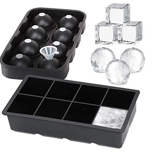 Prime Horizon Eiswürfelform - Silikon-Eiswürfelform 2 Stück, große Eiswürfel und Eisball-Maker, BPA-freie Formen für Whiskey, Cocktails und Backen