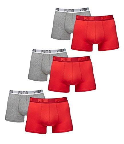 PUMA Herren BASIC Boxer Boxershort Unterhose 6er Pack in vielen Farben rot / grau melange