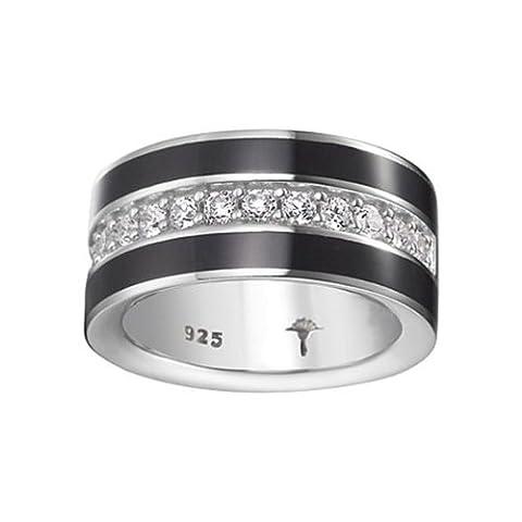 Joop Damen-Ring Epoxy schwarz Zirkonia weiss 925 Sterling Silber Gr. 55 (17.5) JPRG90652A550