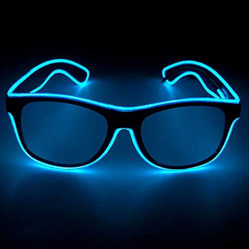 axaya EL Wire Voice Control Rave Sonnenbrille, LED-Licht, Partybrille, DJ, helles Licht, Bunte LED, blinkende Brille für Halloween, Weihnachten, Geburtstag, Party, 80er Jahre, blau, Ordinary (Mann Im Käfig Kostüm)