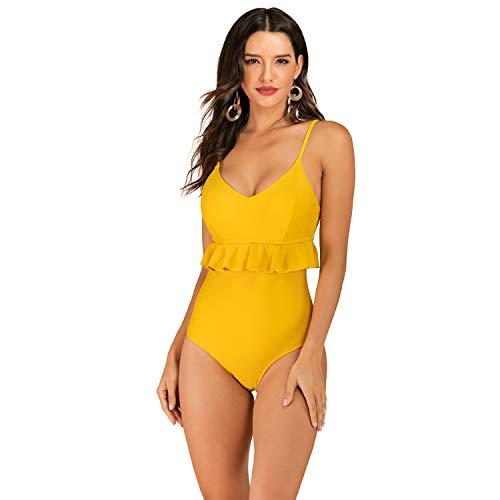 Gotimal Damen Einteiler Bademode Rüschen Badeanzug Bikini Set Push Up Badekleid Gestreift Shaping Effekt Gelb 2XL