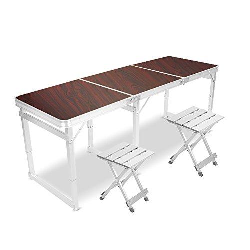 Table pliante YXX Petite carrée et chaises 6 Pieds avec poignée et Pattes réglables en Aluminium de Taille pour Camper et Bureau d'ordinateur Robuste