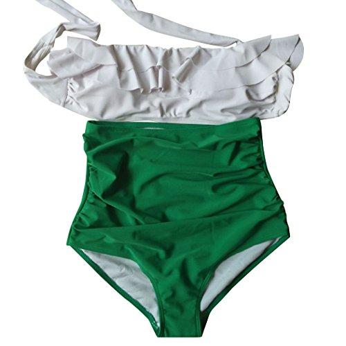 ZEARO Damen Casual Bikini Set Badeanzug Bademode Badebekleidung Swimsuit Schwimmanzug Swimwear Grün