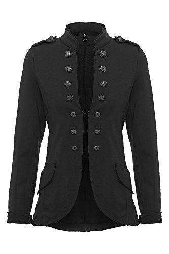 Damen Blazer Damenjacke Military Knöpfe S-XXXL, Farbe:schwarz;Größe:M