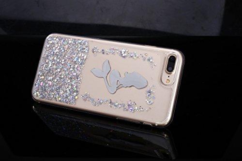 [ iPhone 7 Plus ]Scintillement Coque,Ultra-minces Transparent TPU Doux Coque Pattern étui Pour iPhone 7 Plus,Interne Paillette Fluide Dynamique de Scintillement Mode [La Petite Sirène Motif] Case Cove Argent