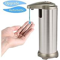 Dispensador de jabón Bigear Manos libres Sensor Touchless Acero inoxidable 280 ML con base impermeable para cocina y baño Office Sanitizer Shampoo Loción argento