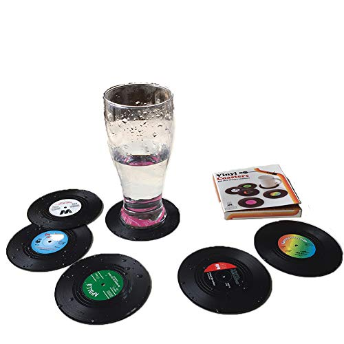 Vinyl-Untersetzer für Kaffee Retro-CD-Schallplatten 6 Stück