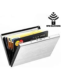 RFID Blocking Stainless Steel Slim Wallet ATM Card Holder Credit Card Holder For Men & Women - Silver Matt