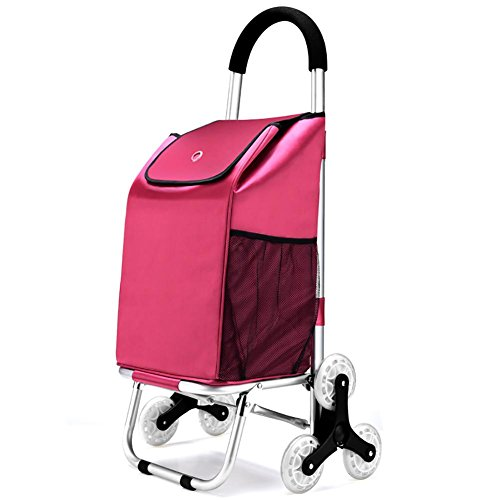 M&L Trolley Dolly Tri-Rad Folding Warenkorb, Treppensteigen Aluminium-Legierung Cart Save Lebensmittelgeschäft Utility Cart mit Rad-Lager für Go Up und Down Treppen , Pink (Mit Utility Räder Cart)