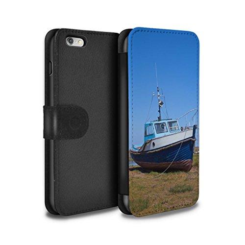 STUFF4 PU-Leder Hülle/Case/Tasche/Cover für Apple iPhone 6+/Plus 5.5 / Alte Kanone Muster / Britischen Küste Kollektion Blau Boot