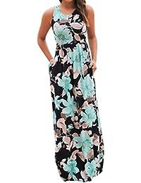 64b0424601d ALIKEEY Robe sans Manches à imprimé Floral sans Manches pour Femmes Robe  Longue imprimée sans Manches