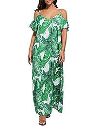 Sommerkleid Damen Kleider LHWY Frauen Blumenblatt Gedruckt Maxikleid  Trägerloses Kleid Damen Sommer Strand Sling Lose Kleid 6cd6ea9e1d