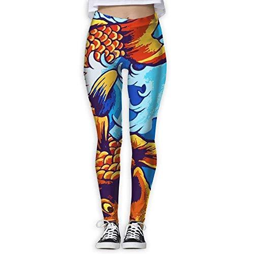 Deglogse Yogahosen, Trainingsgamaschen,Watercolor Koi Fish Women High Waist Yoga Pants Yoga Capris Pants Stretch Workout Leggings Capris -