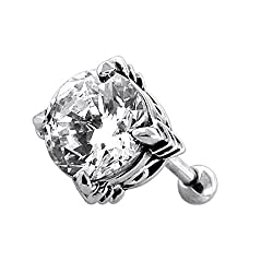 Piercing India Round CZ Stone setting on Tribal Design 316L Surgical Steel Fake Ear Plug