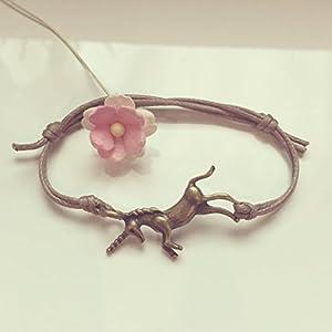 Einhorn Armband in Beige Bronze Größenverstellbar, unicorn / vintage / ethno / hippie / must have / statement / florabella schmuck