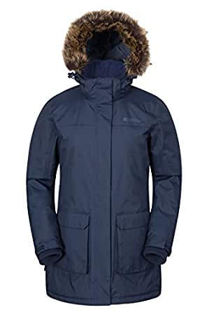 Mountain Warehouse Canyon Womens Waterproof Faux Fur Hooded Jacket Navy 22