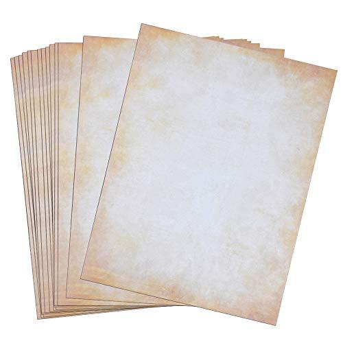 100 fogli carta vintage marrone formato din a4 (21,0 x 29,7 cm) fronte-retro stampato adatto a tutte le stampanti (a)